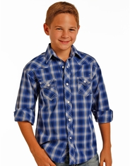 Rock & Roll Cowboy Boy's Long Sleeve Plaid Snap Shirt - Blue (Closeout)