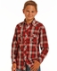 Rock & Roll Cowboy Boy's Long Sleeve Plaid Snap Shirt - Red