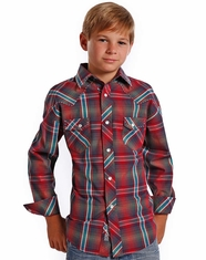 Rock & Roll Cowboy Boy's Long Sleeve Plaid Snap Shirt - Red (Closeout)