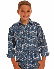 Rock & Roll Cowboy Boy's Long Sleeve Print Snap Shirt - Blue (Closeout)