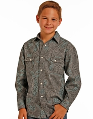 Rock & Roll Cowboy Boy's Long Sleeve Print Snap Shirt - Grey