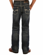 Rock & Roll Cowboy Boy's Mid Rise Regular Fit Boot Cut Jeans - Dark Vintage