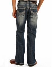 Rock & Roll Cowboy Boy's Mid Rise Regular Fit Boot Cut Jeans - Dark Vintage (Closeout)