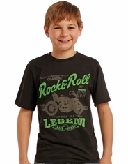 Rock & Roll Cowboy Boy's Short Sleeve Logo Print Tee Shirt - Black