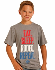 Rock & Roll Cowboy Boy's Short Sleeve Rodeo T-Shirt - Grey