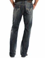 Rock & Roll Cowboy Men's Double Barrel Boot Cut Jeans - Dark Vintage