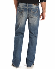 Rock & Roll Cowboy Men's Double Barrel Low Rise Relaxed Fit Straight Leg Jeans - Medium Wash (Closeout)