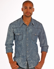 Rock & Roll Cowboy Men's Long Sleeve Bleached Snap Shirt - Blue (Closeout)