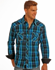 Rock & Roll Cowboy Men's Long Sleeve Plaid Snap Shirt - Blue
