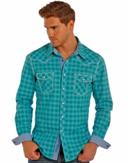 Rock & Roll Cowboy Men's Long Sleeve Plaid Snap Shirt - Blue (Closeout)
