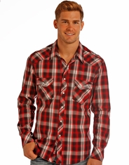 Rock & Roll Cowboy Men's Long Sleeve Plaid Snap Shirt - Red (Closeout)