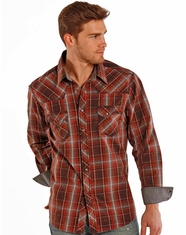 Rock & Roll Cowboy Men's Long Sleeve Plaid Snap Shirt - Rust (Closeout)