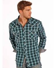 Rock & Roll Cowboy Men's Long Sleeve Plaid Snap Shirt - Turquoise (Closeout)