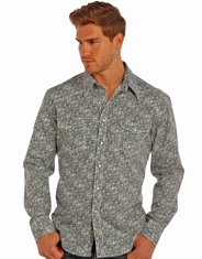 Rock & Roll Cowboy Men's Long Sleeve Print Snap Shirt - Blue