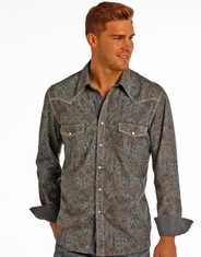 Rock & Roll Cowboy Men's Long Sleeve Print Snap Shirt - Grey