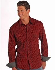 Rock & Roll Cowboy Men's Long Sleeve Print Snap Shirt - Red (Closeout)