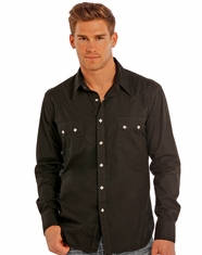 Rock & Roll Cowboy Men's Long Sleeve Solid Snap Shirt - Black (Closeout)