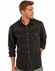 Rock & Roll Cowboy Men's Long Sleeve Spray Wash Snap Shirt - Black (Closeout)