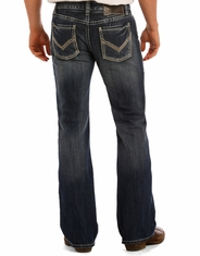 Rock & Roll Cowboy Men's Pistol Low Rise Regular Fit Boot Cut Jeans - Dark Vintage