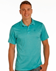 Rock & Roll Cowboy Men's Short Sleeve Heathered Polo Shirt - Turquoise