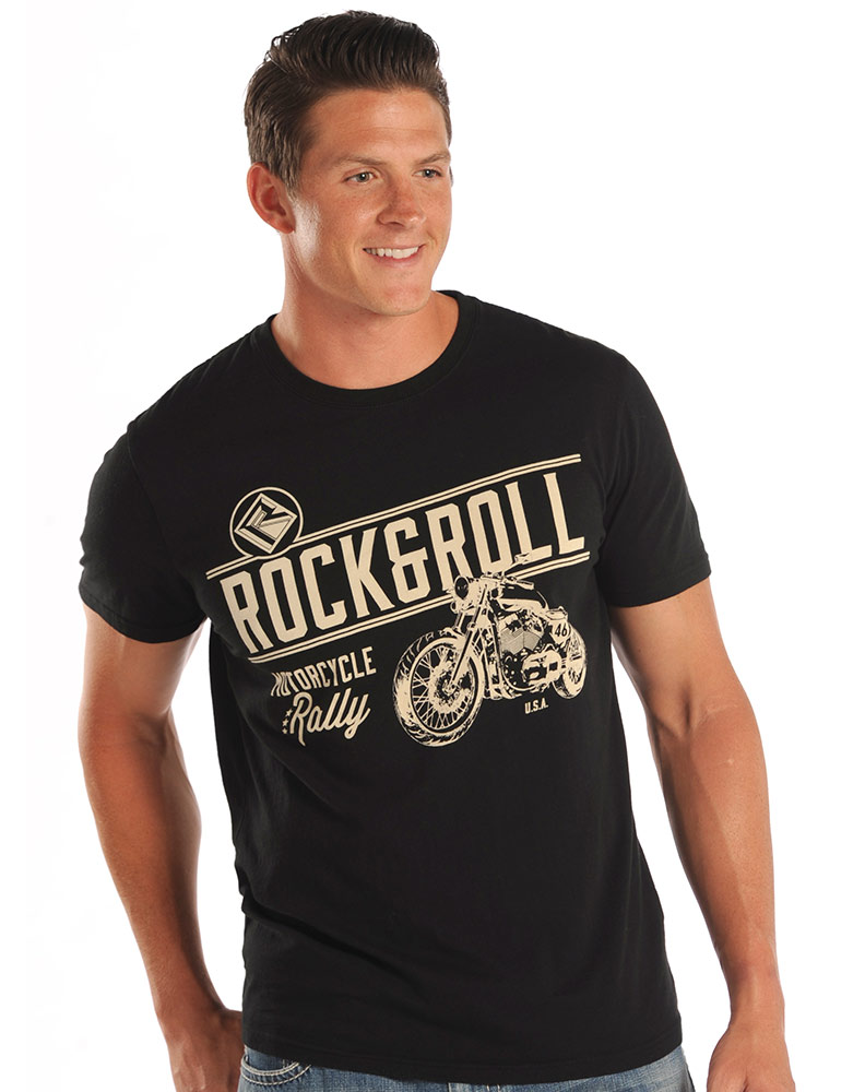 T black shirt rock - Rock Roll Cowboy Men S Short Sleeve Logo Print T Shirt Black Closeout