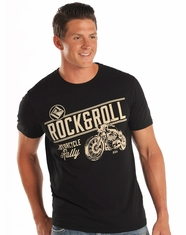 Rock & Roll Cowboy Men's Short Sleeve Logo Print T-Shirt - Black (Closeout)