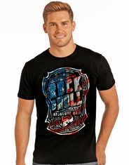 Rock & Roll Cowboy Men's Short Sleeve Logo Print Tee Shirt - Black
