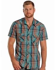 Rock & Roll Cowboy Men's Short Sleeve Plaid Snap Shirt - Orange (Closeout)