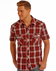 Rock & Roll Cowboy Men's Short Sleeve Plaid Snap Shirt - Red