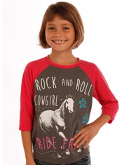 Rock & Roll Cowgirl Girl's 3/4 Sleeve Print Shirt - Grey (Closeout)