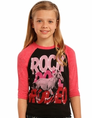 Rock & Roll Cowgirl Girl's 3/4 Sleeve Printed Tee Shirt - Black (Closeout)