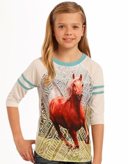 Rock & Roll Cowgirl Girl's 3/4 Sleeve Printed Tee Shirt - Natural