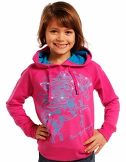 Rock & Roll Cowgirl Girl's Long Sleeve Printed Pullover Hoodie - Pink (Closeout)