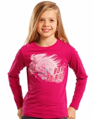 Rock & Roll Cowgirl Girl's Long Sleeve Printed Tee Shirt - Pink (Closeout)