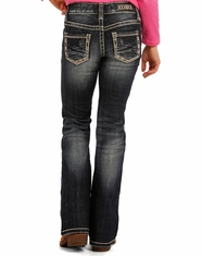 Rock & Roll Cowgirl Girl's Low Rise Boot Cut Jeans - Dark Vintage
