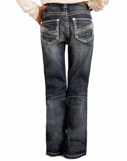 Rock & Roll Cowgirl Girl's Low Rise Boot Cut Jeans - Medium Wash (Closeout)