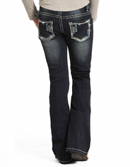Rock & Roll Cowgirl Girl's Low Rise Bootcut Jeans -Dark Vintage (Closeout)