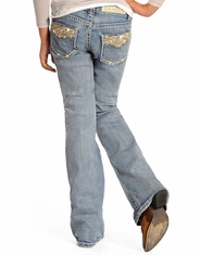 Rock & Roll Cowgirl Girl's Low Rise Bootcut Jeans -Light Wash