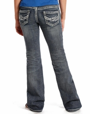 Rock & Roll Cowgirl Girl's Low Rise Slim Fit Boot Cut Jean - Medium Vintage (Closeout)