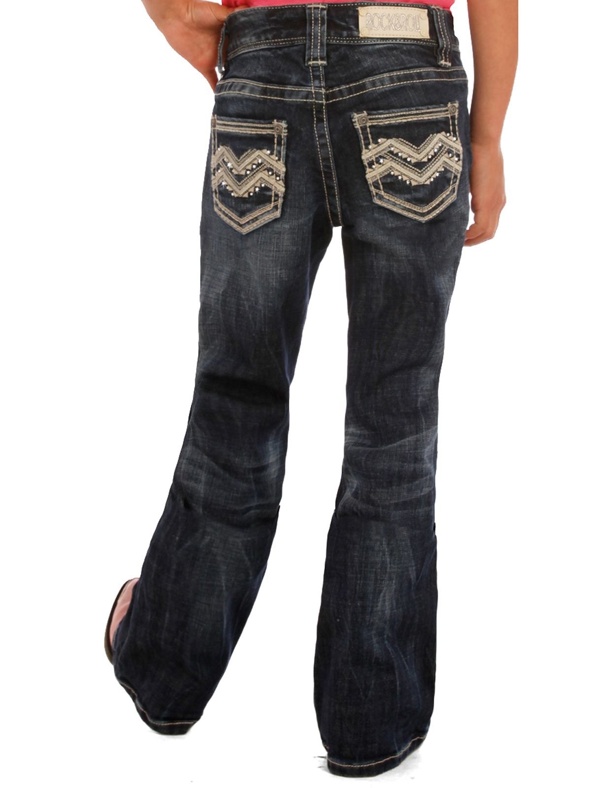 Rock & Roll Cowgirl Girl's Low Rise Slim Fit Bootcut Jeans - Dark Vintage