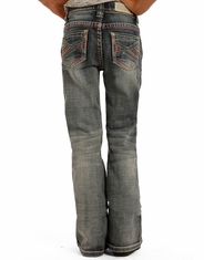 Rock & Roll Cowgirl Girl's Low Rise Slim Fit Bootcut Jeans - Light Vintage