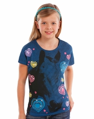 Rock & Roll Cowgirl Girl's Short Sleeve Horse Print Tee Shirt - Blue (Closeout)
