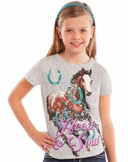 Rock & Roll Cowgirl Girl's Short Sleeve Horse Print Tee Shirt - Grey (Closeout)