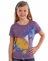 Rock & Roll Cowgirl Girl's Short Sleeve Horse Print Tee Shirt - Purple (Closeout)