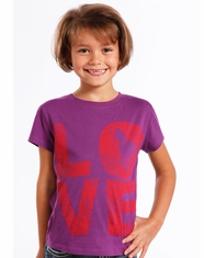 Rock & Roll Cowgirl Girl's Short Sleeve Love Print Tee Shirt - Purple (Closeout)