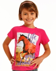 Rock & Roll Cowgirl Girl's Short Sleeve Print Tee Shirt - Pink (Closeout)