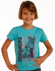 Rock & Roll Cowgirl Girl's Short Sleeve Print Tee Shirt - Turquoise (Closeout)