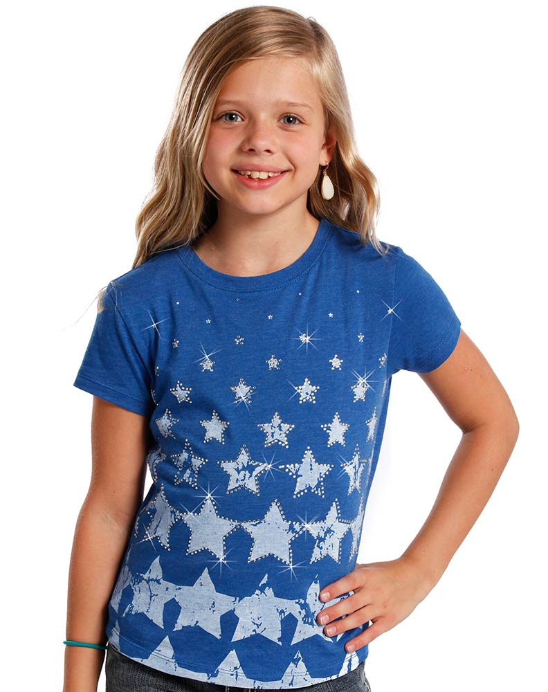 Rock & Roll Cowgirl Girl's Short Sleeve Rhinestone Print Tee Shirt - Blue (Closeout)