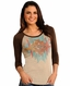 Rock & Roll Cowgirl Women's 3/4 Sleeve Aztec Print Top - Natural (Closeout)