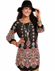 Rock & Roll Cowgirl Women's 3/4 Sleeve Print Dress - Black
